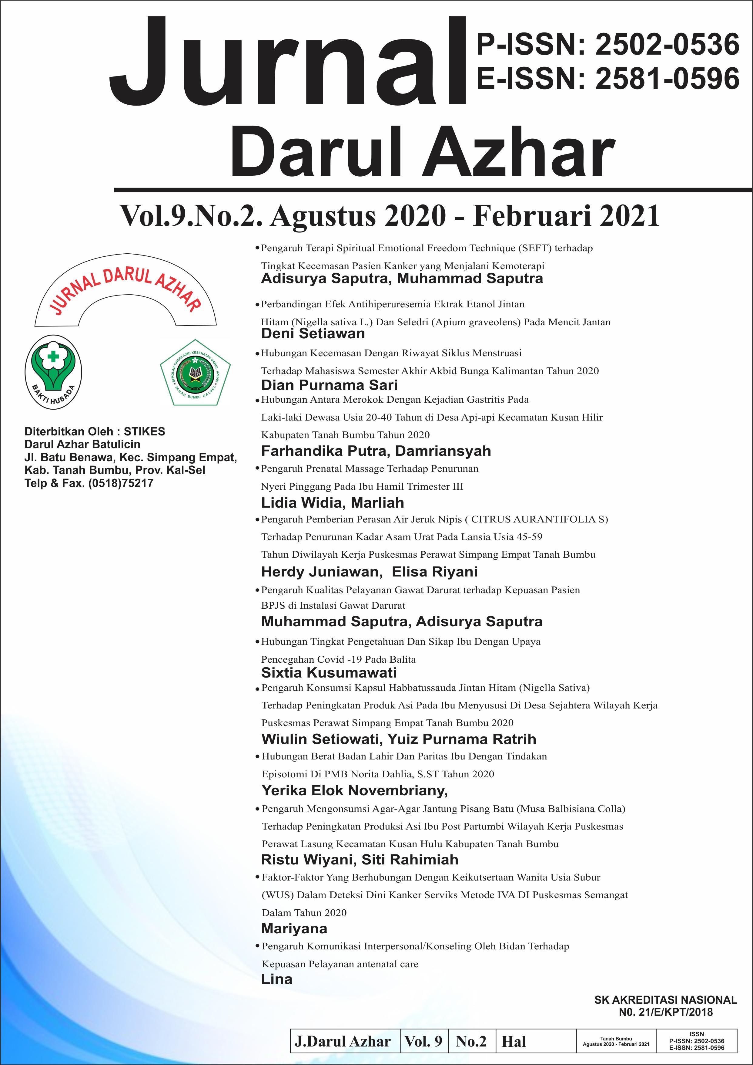Penerbitan Jurnal Vol 9. No.02 merupakan edisi penomeran terbaru setelah Vol.09 No.1